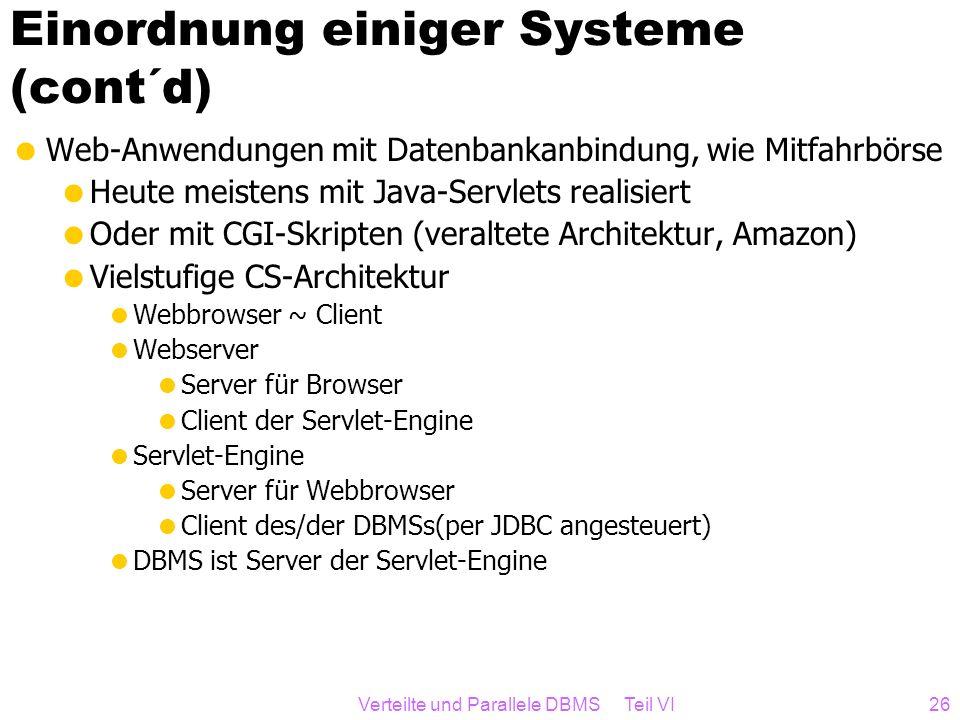 Einordnung einiger Systeme (cont´d)