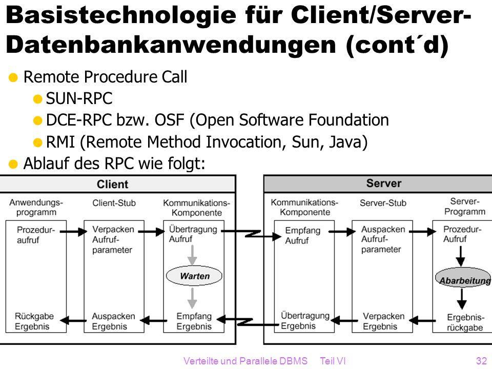 Basistechnologie für Client/Server-Datenbankanwendungen (cont´d)