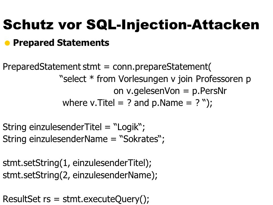 Schutz vor SQL-Injection-Attacken