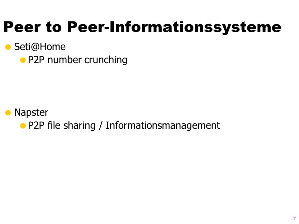 Peer to Peer-Informationssysteme