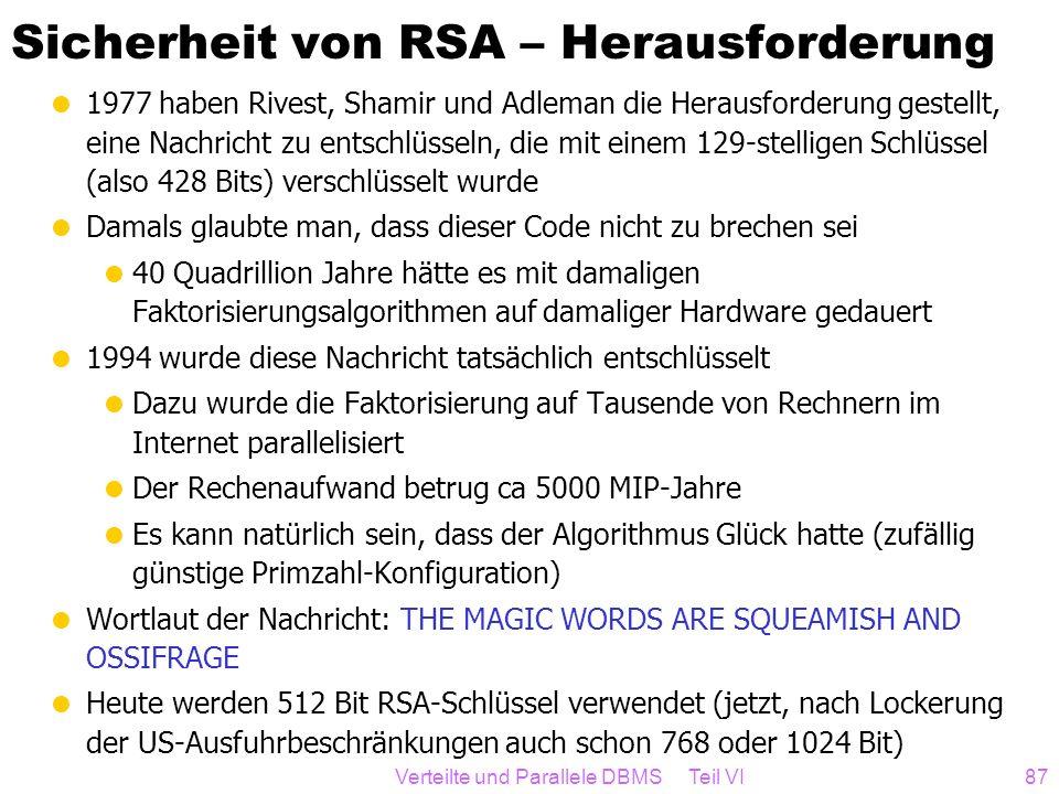 Sicherheit von RSA – Herausforderung