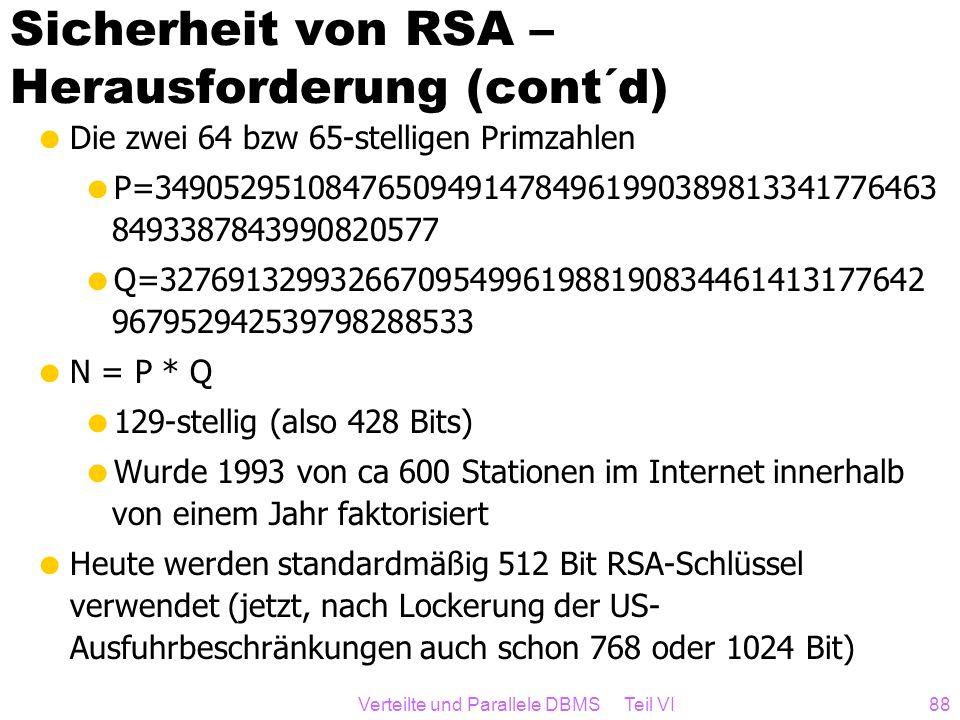 Sicherheit von RSA – Herausforderung (cont´d)