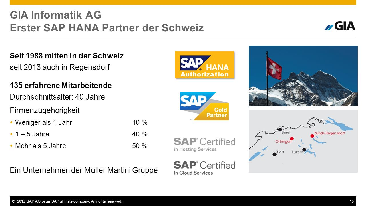 GIA Informatik AG Erster SAP HANA Partner der Schweiz