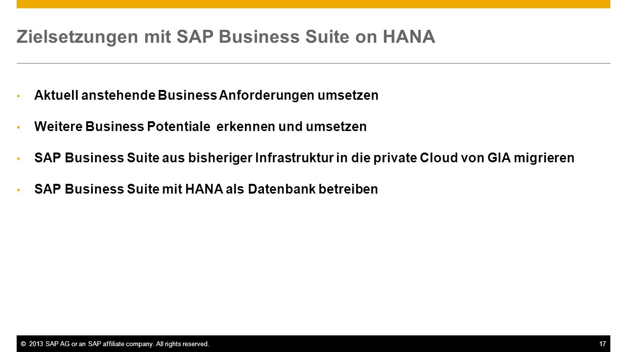 Zielsetzungen mit SAP Business Suite on HANA
