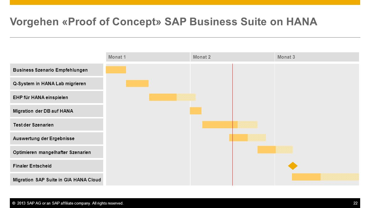 Vorgehen «Proof of Concept» SAP Business Suite on HANA