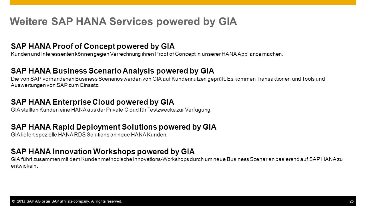 Weitere SAP HANA Services powered by GIA