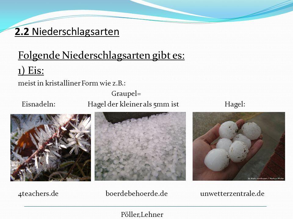 2.2 Niederschlagsarten Folgende Niederschlagsarten gibt es: 1) Eis: