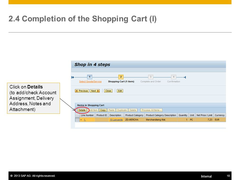 2.4 Completion of the Shopping Cart (I)