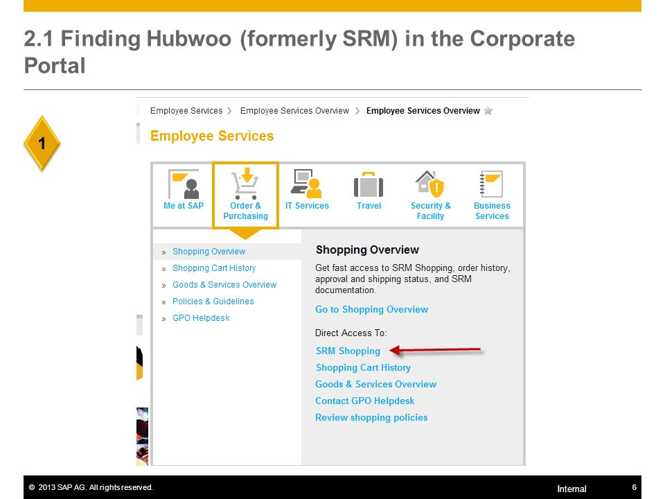 2.1 Finding Hubwoo (formerly SRM) in the Corporate Portal