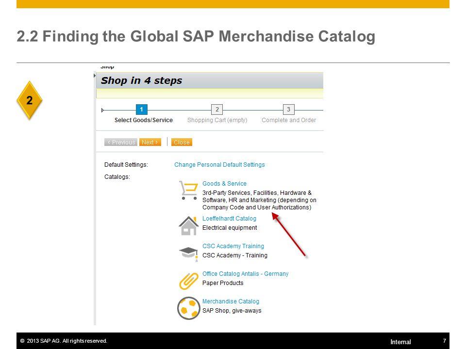 2.2 Finding the Global SAP Merchandise Catalog