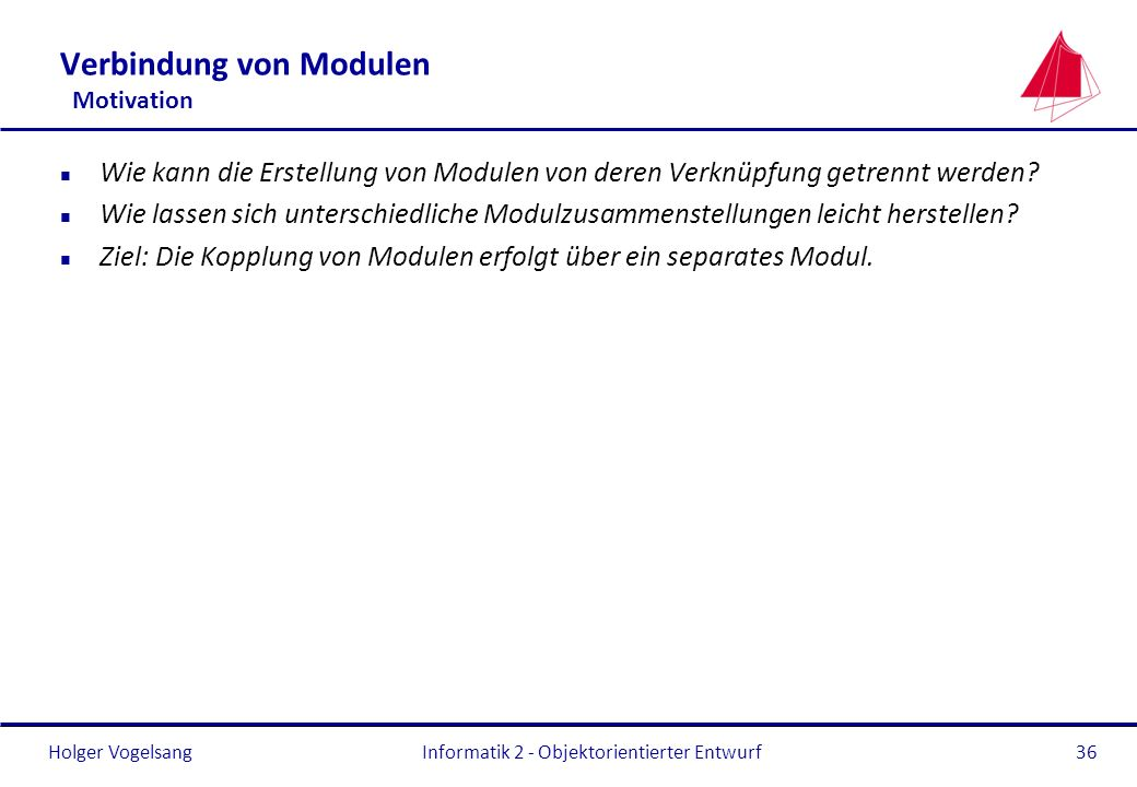Verbindung von Modulen Motivation