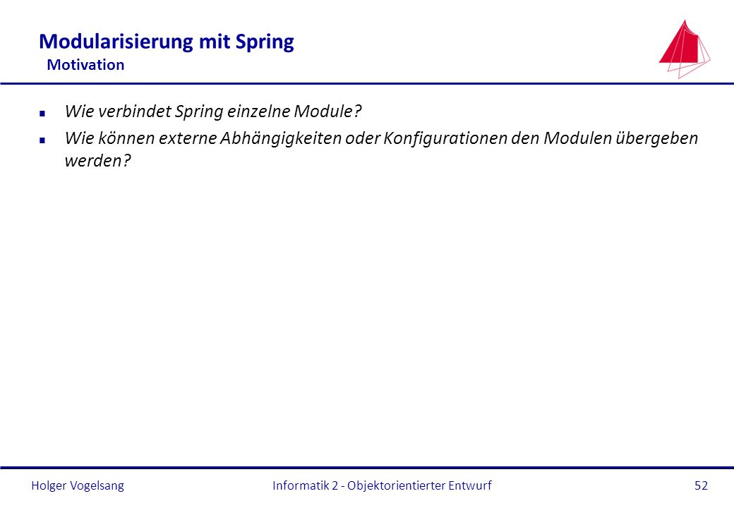 Modularisierung mit Spring Motivation