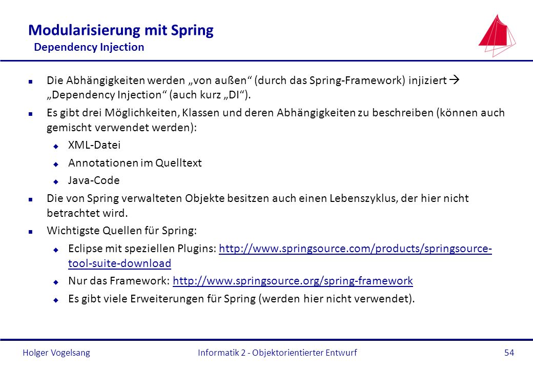 Modularisierung mit Spring Dependency Injection