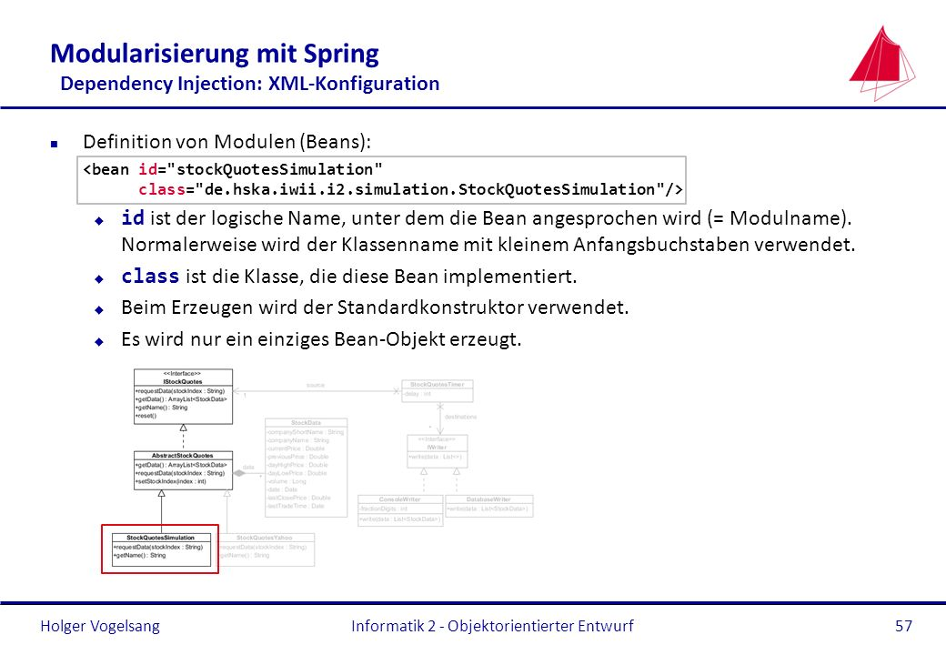 Modularisierung mit Spring Dependency Injection: XML-Konfiguration