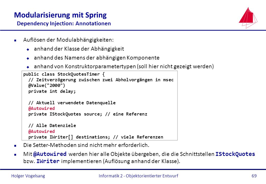 Modularisierung mit Spring Dependency Injection: Annotationen