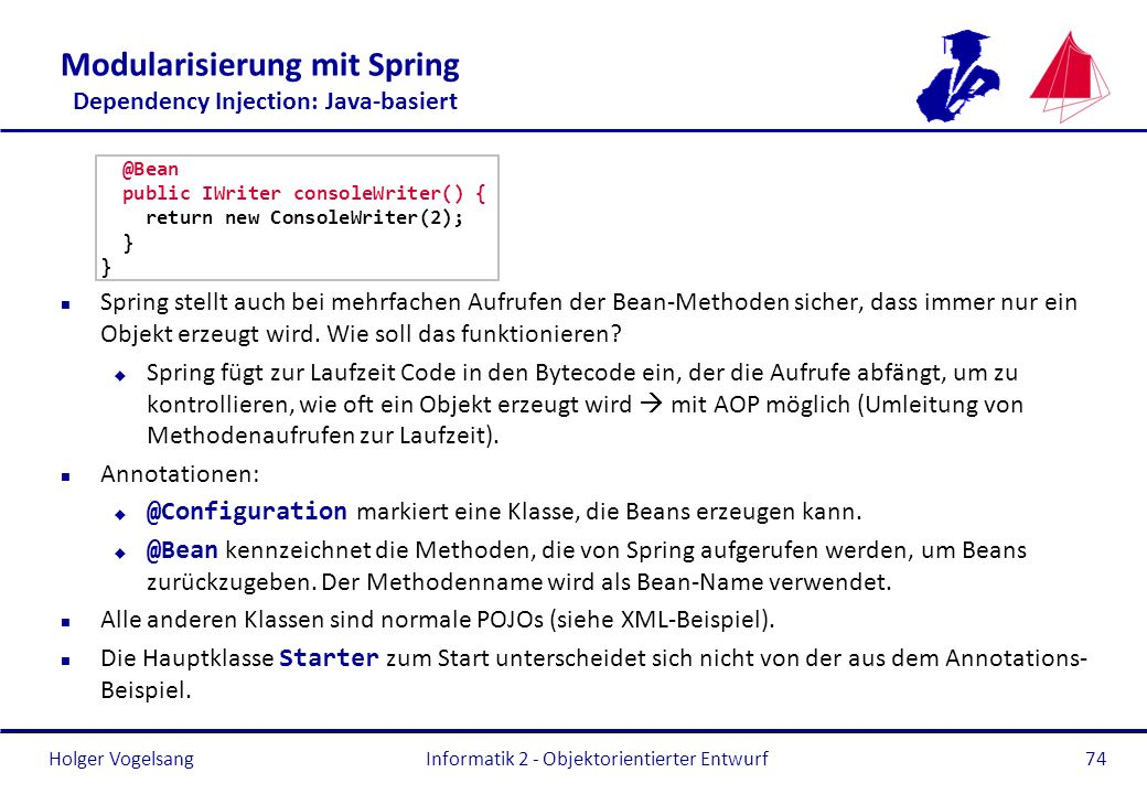 Modularisierung mit Spring Dependency Injection: Java-basiert
