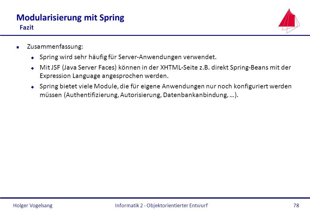 Modularisierung mit Spring Fazit