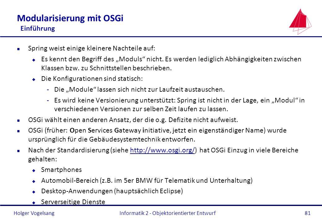 Modularisierung mit OSGi Einführung