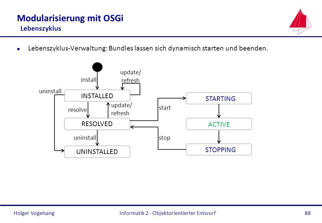 Modularisierung mit OSGi Lebenszyklus