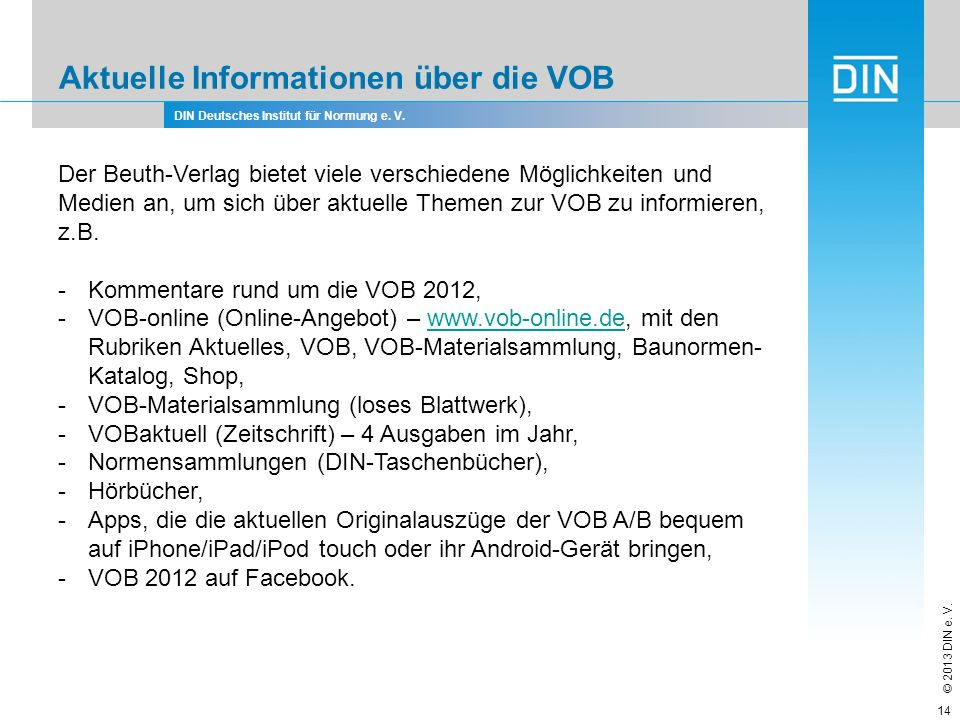 Aktuelle Informationen über die VOB
