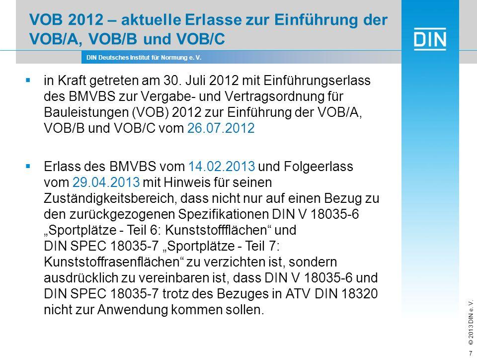 VOB 2012 – aktuelle Erlasse zur Einführung der VOB/A, VOB/B und VOB/C