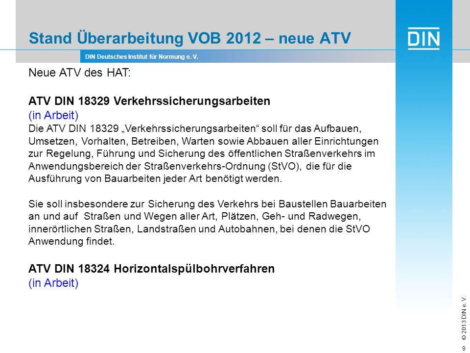 Stand Überarbeitung VOB 2012 – neue ATV