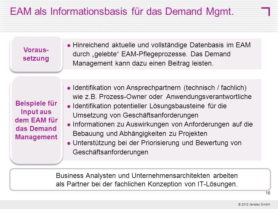 EAM als Informationsbasis für das Demand Mgmt.