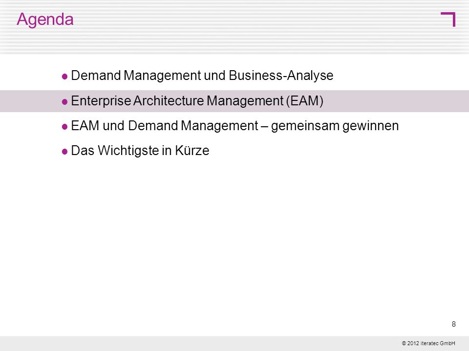 Agenda Demand Management und Business-Analyse