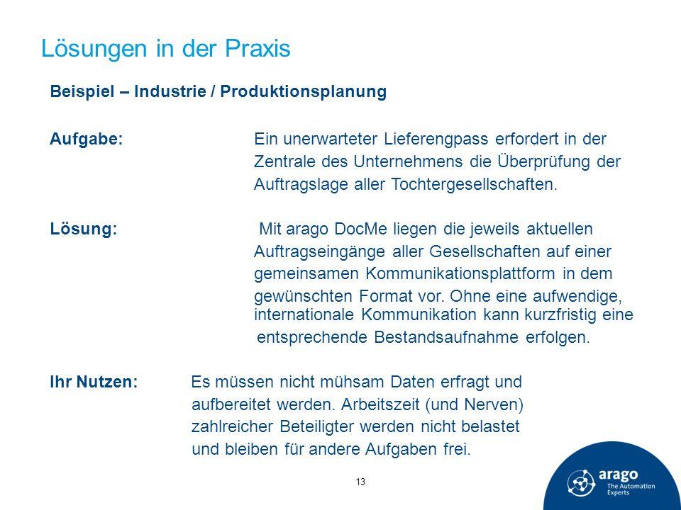 Lösungen in der Praxis Beispiel – Industrie / Produktionsplanung