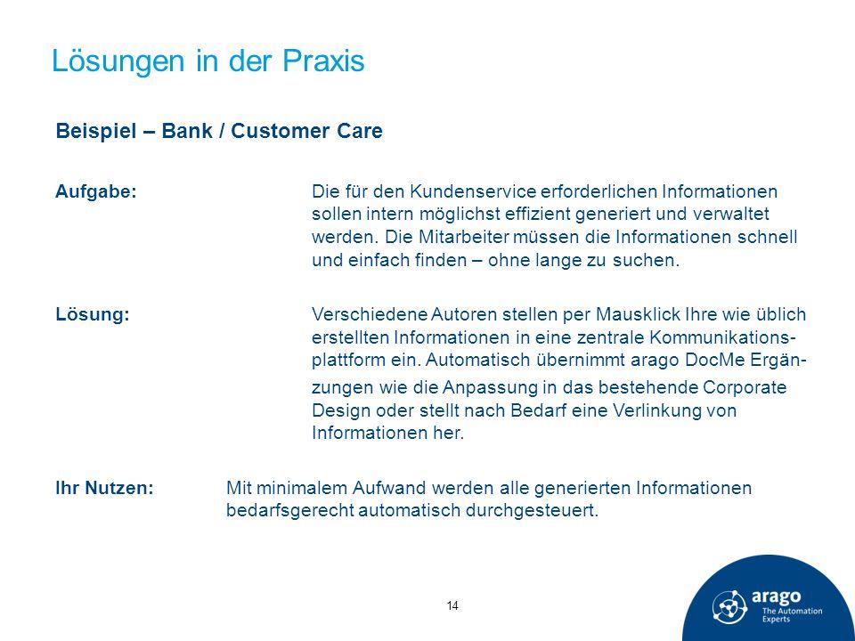 Lösungen in der Praxis Beispiel – Bank / Customer Care