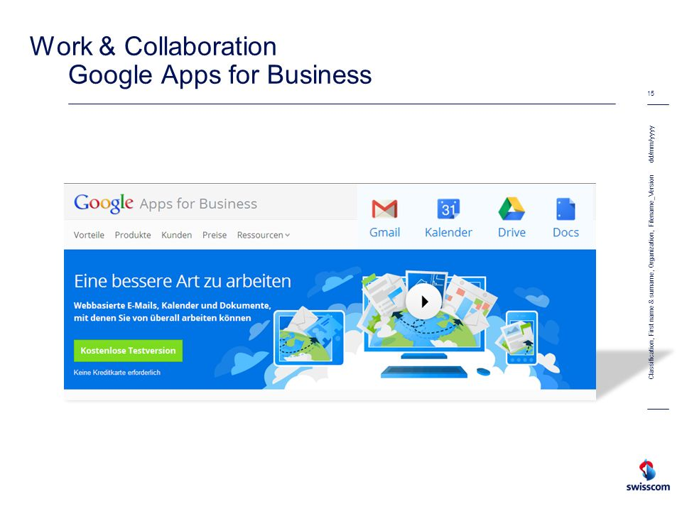 Work & Collaboration Google Apps for Business