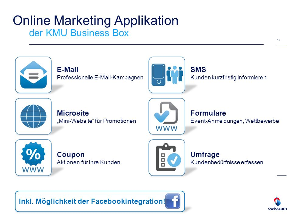 Online Marketing Applikation der KMU Business Box