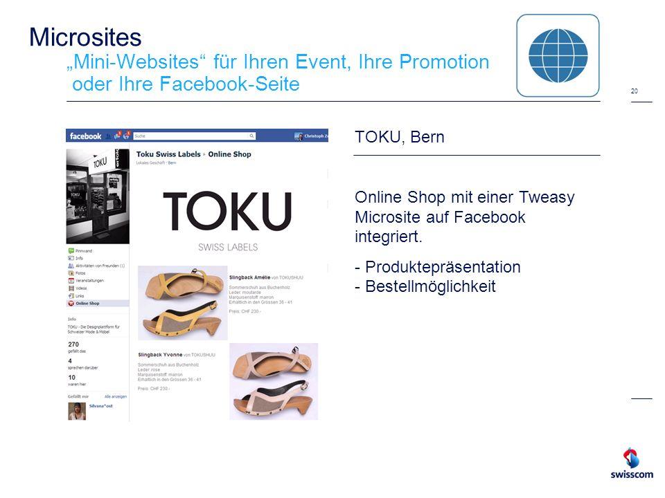 """Microsites """"Mini-Websites für Ihren Event, Ihre Promotion oder Ihre Facebook-Seite"""