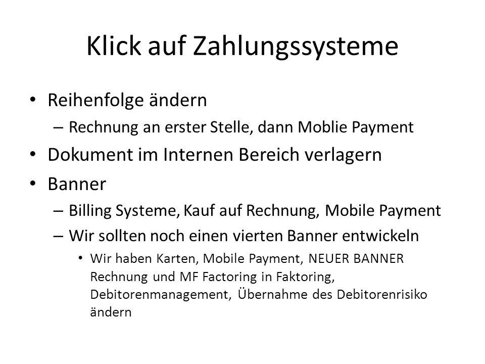 Klick auf Zahlungssysteme