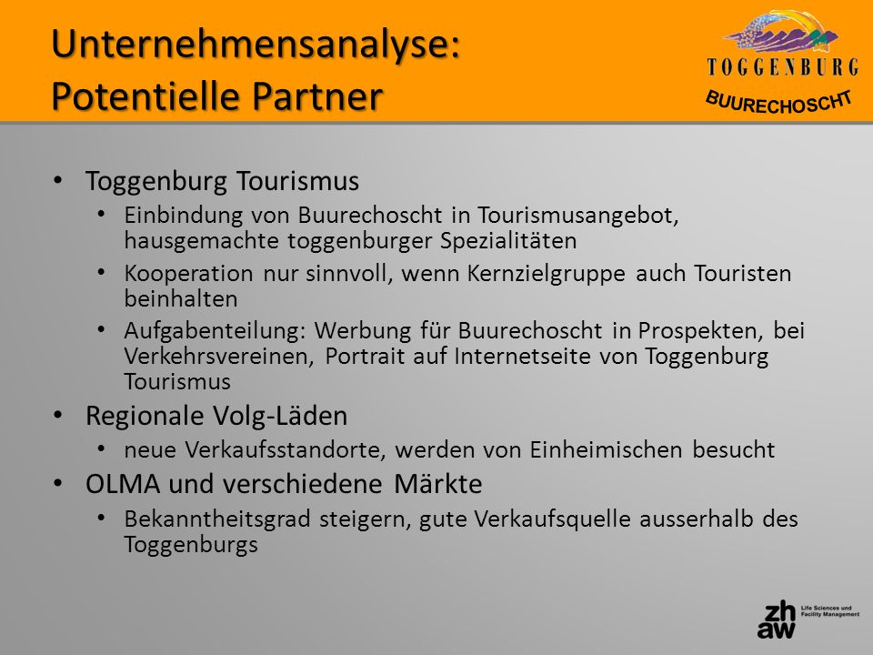 Unternehmensanalyse: Potentielle Partner