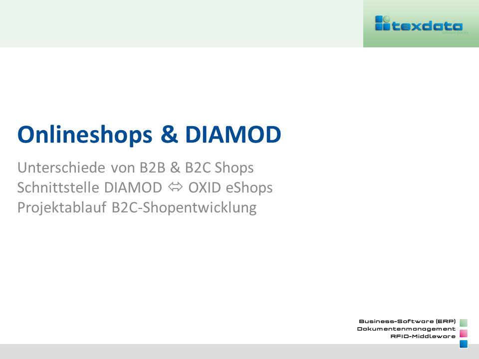 Onlineshops & DIAMOD Unterschiede von B2B & B2C Shops Schnittstelle DIAMOD  OXID eShops Projektablauf B2C-Shopentwicklung.