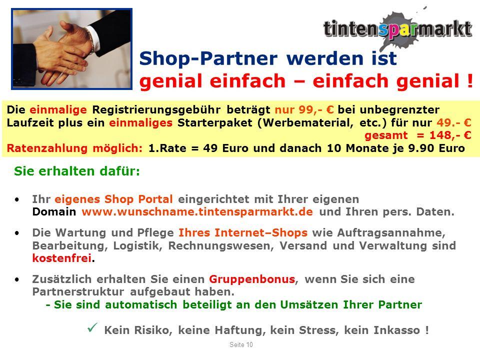 Shop-Partner werden ist genial einfach – einfach genial !