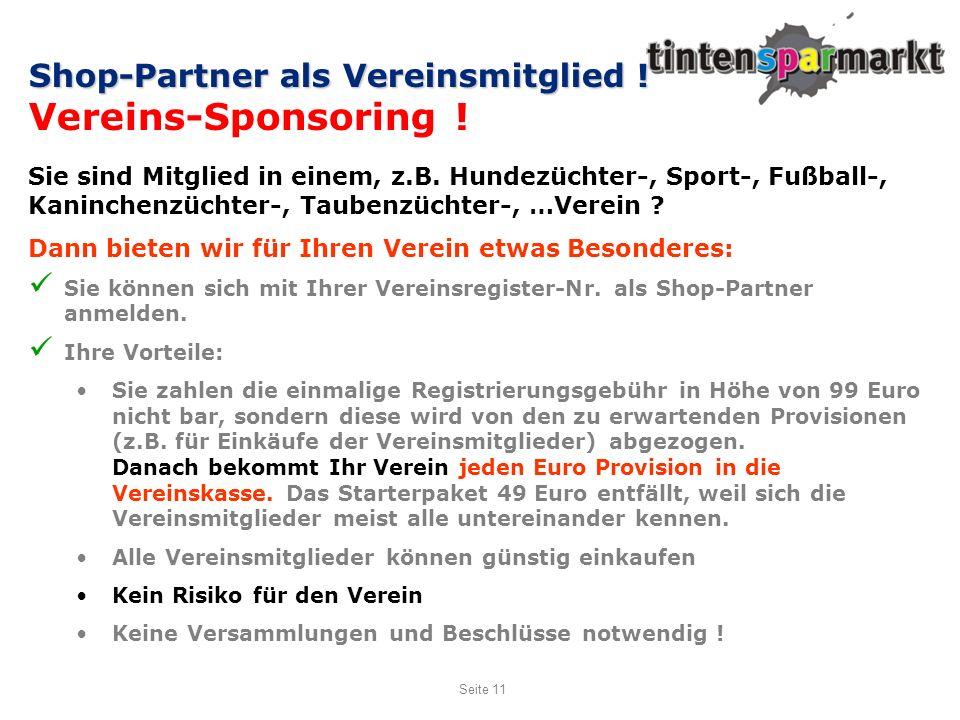Vereins-Sponsoring ! Shop-Partner als Vereinsmitglied !