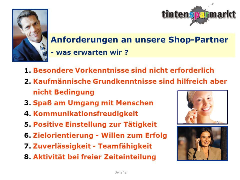 Anforderungen an unsere Shop-Partner