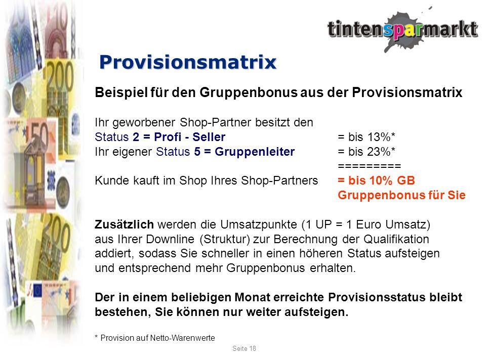 Provisionsmatrix Beispiel für den Gruppenbonus aus der Provisionsmatrix. Ihr geworbener Shop-Partner besitzt den.