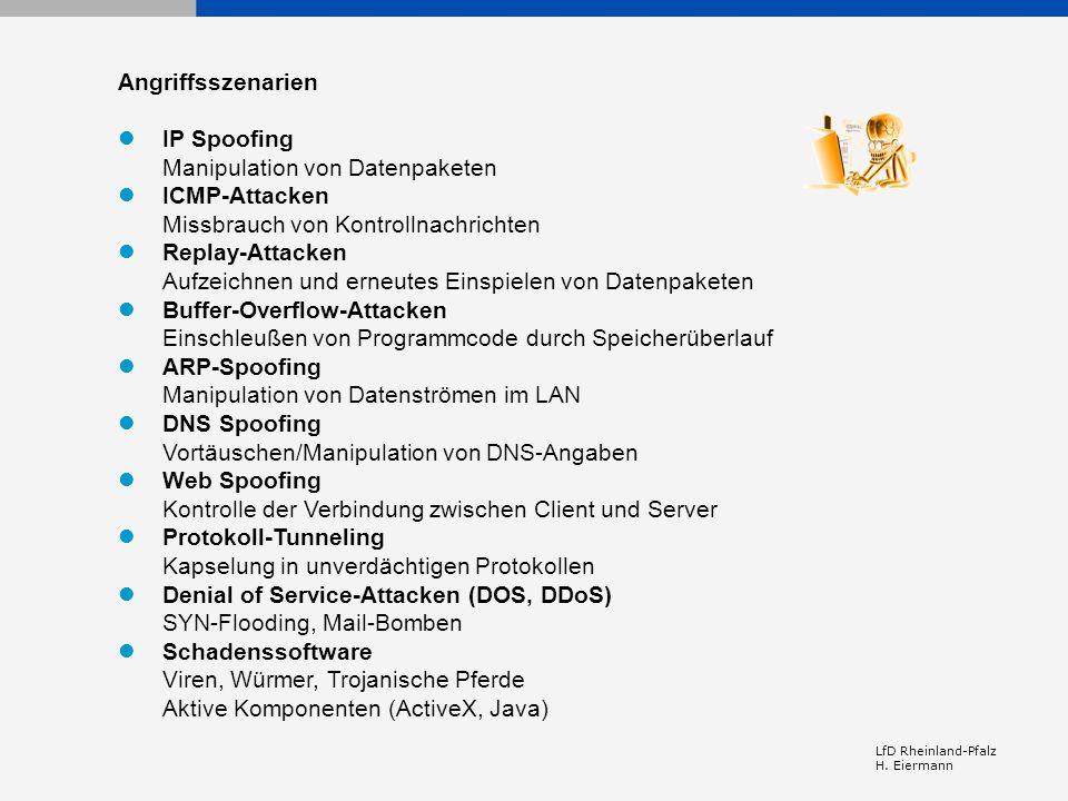  IP Spoofing Manipulation von Datenpaketen  ICMP-Attacken