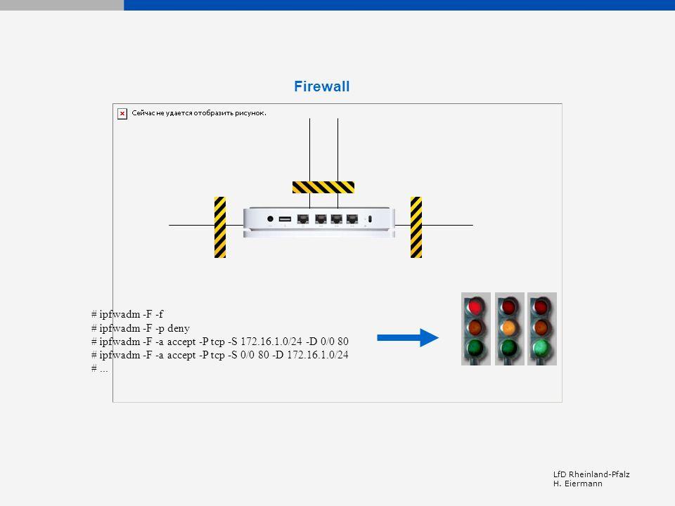 Firewall # ipfwadm -F -f # ipfwadm -F -p deny