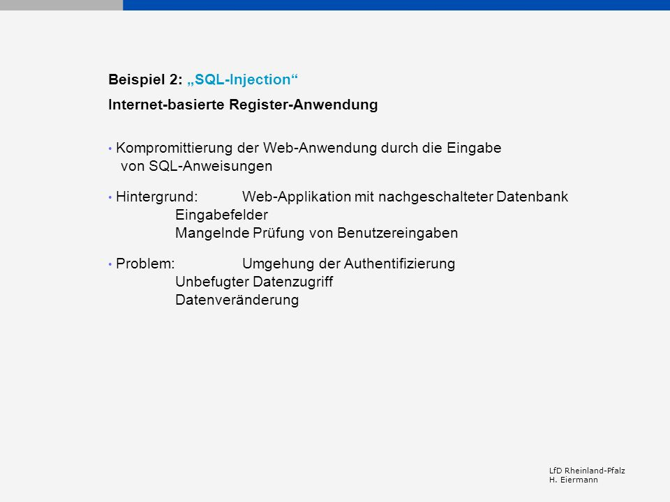 "Beispiel 2: ""SQL-Injection Internet-basierte Register-Anwendung"