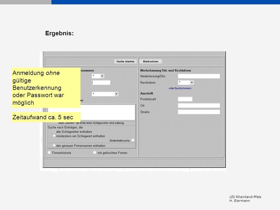 Anmeldung ohne gültige Benutzerkennung