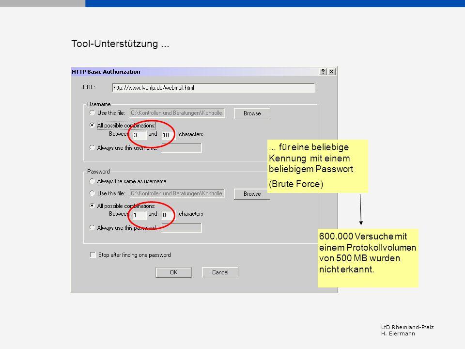 Tool-Unterstützung ... ... für eine beliebige Kennung mit einem beliebigem Passwort. (Brute Force)
