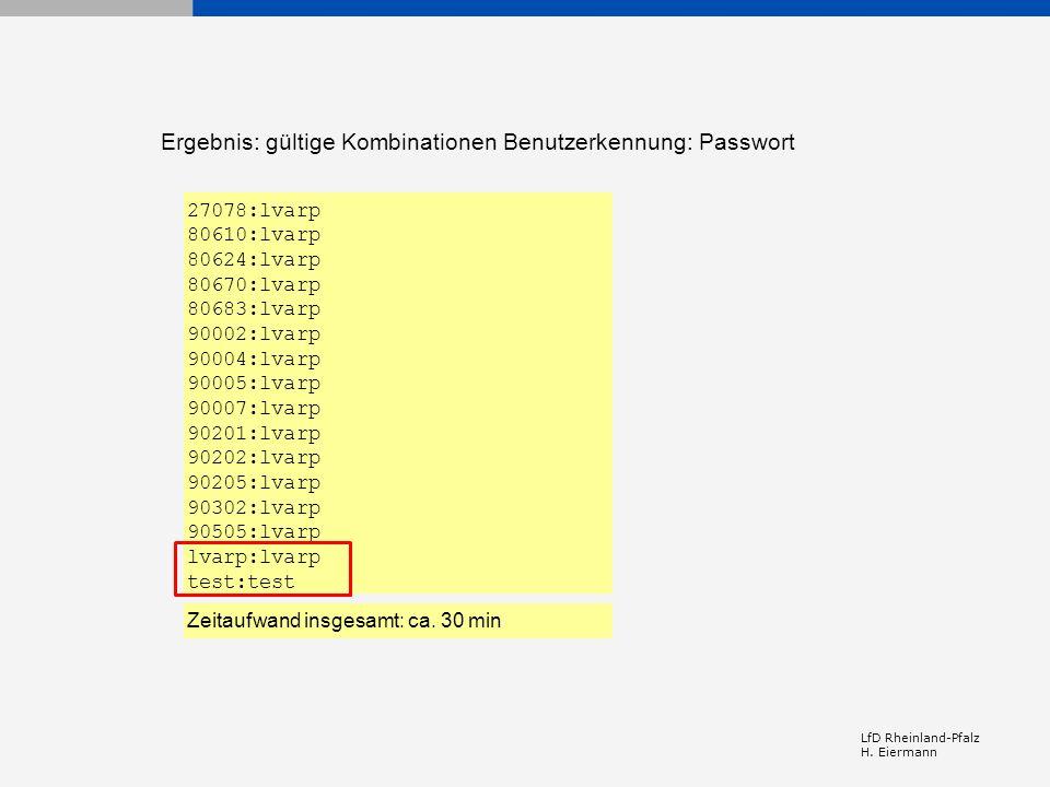 Ergebnis: gültige Kombinationen Benutzerkennung: Passwort