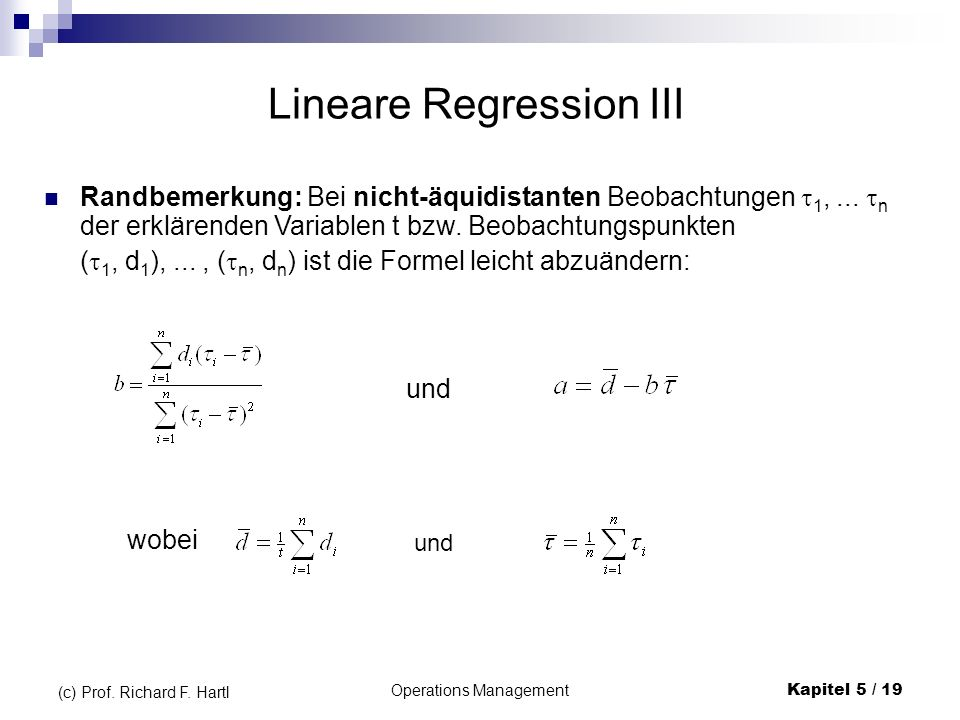 Lineare Regression III