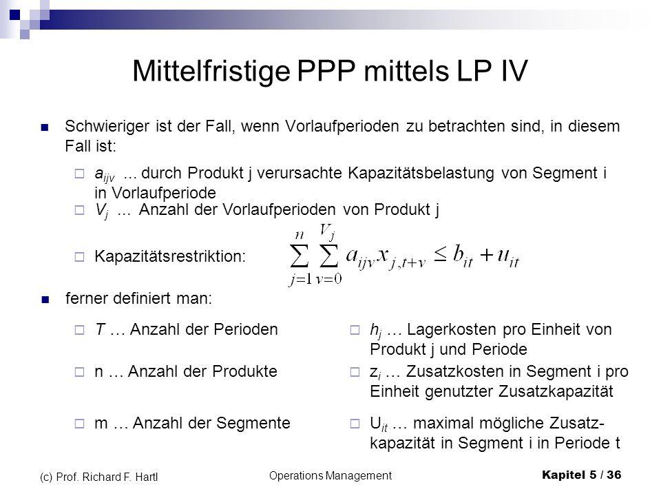 Mittelfristige PPP mittels LP IV