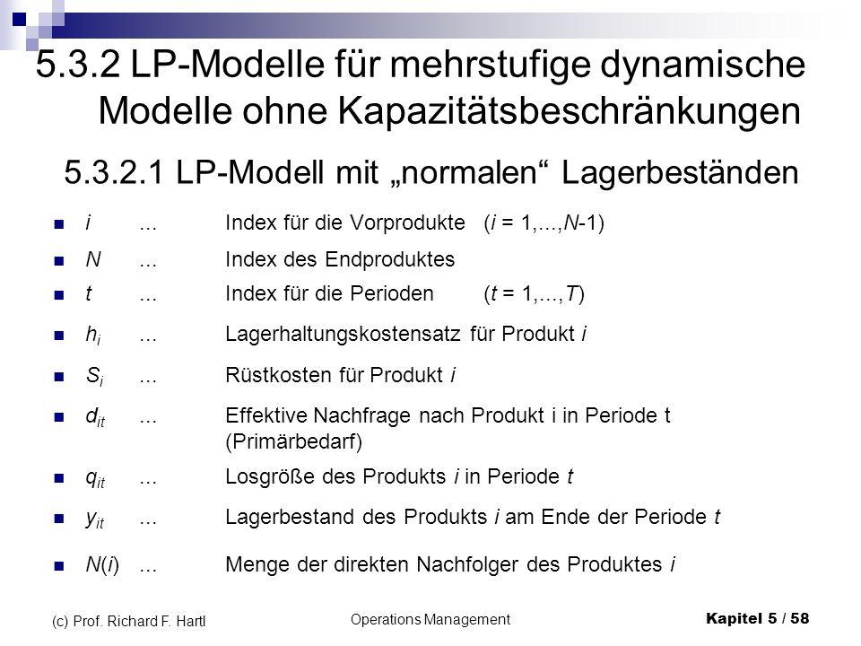 5.3.2 LP-Modelle für mehrstufige dynamische Modelle ohne Kapazitätsbeschränkungen