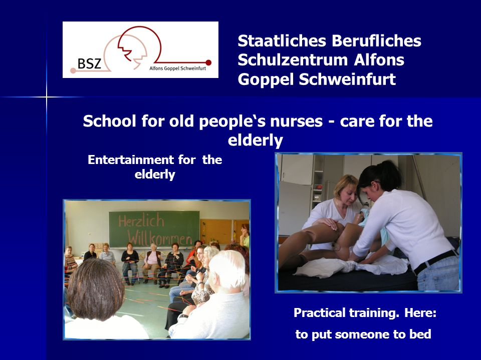 School for old people's nurses - care for the elderly